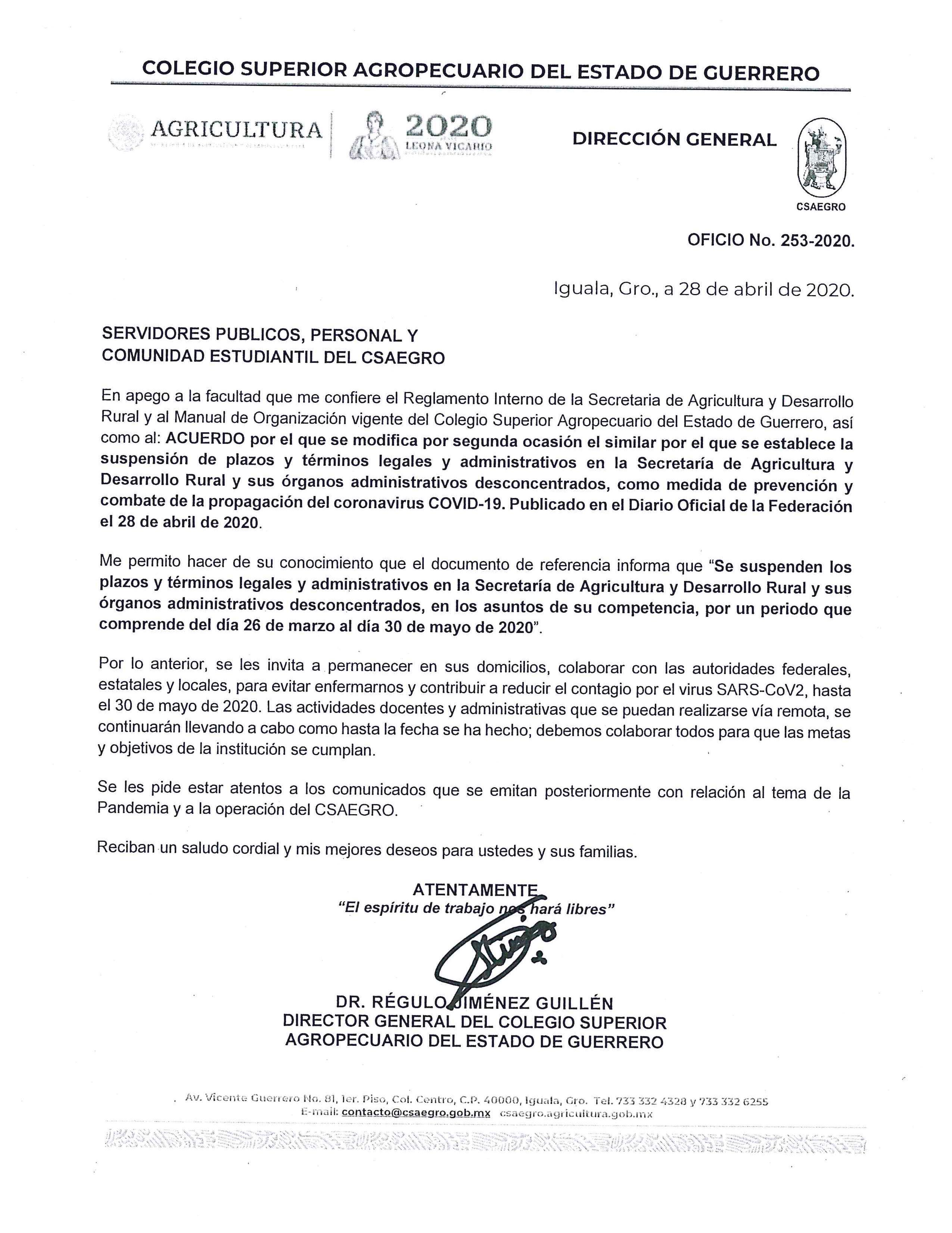 Oficio No. 253-2020. Comunidad CSAEGRO