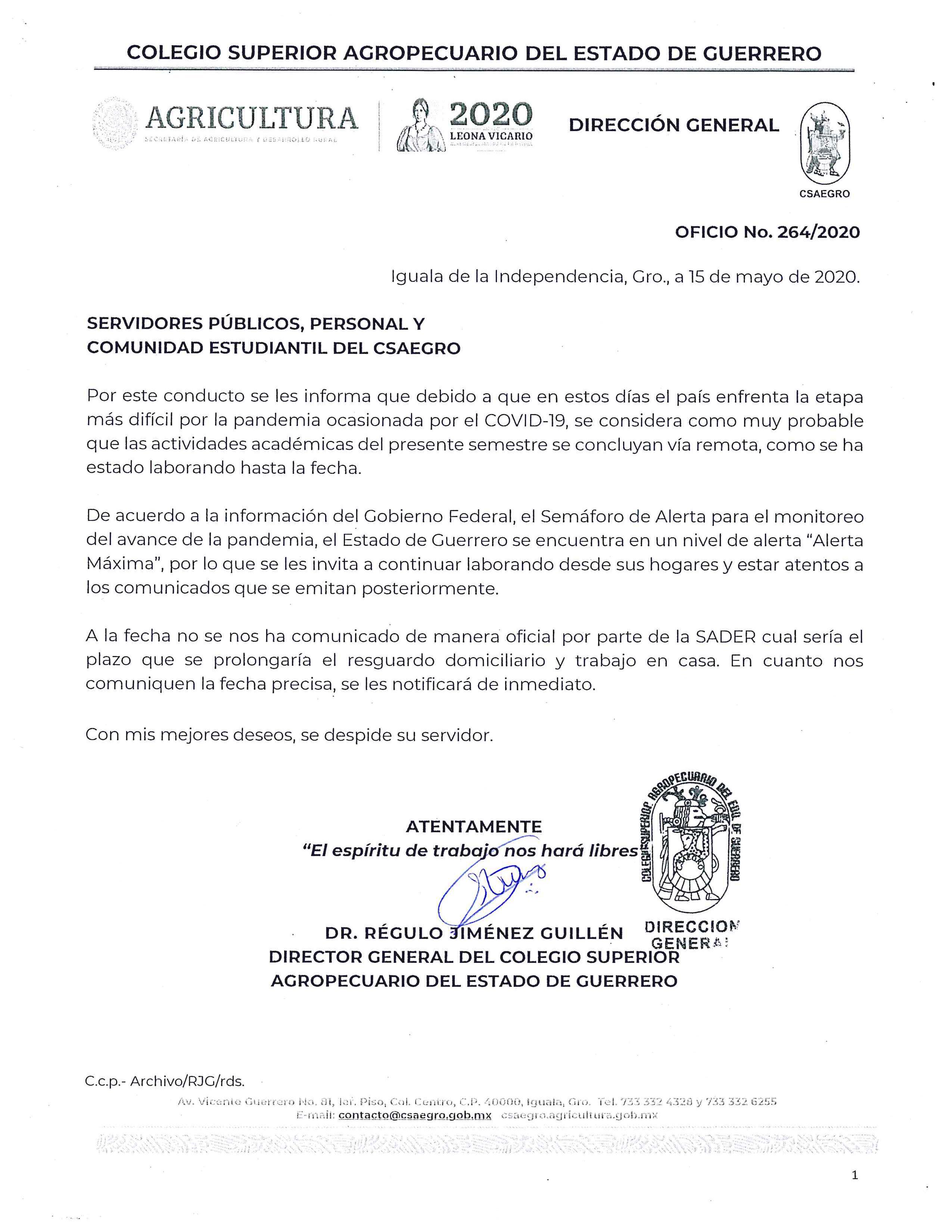 Oficio No.264 Información a Comunidad Estudiantil y Personal
