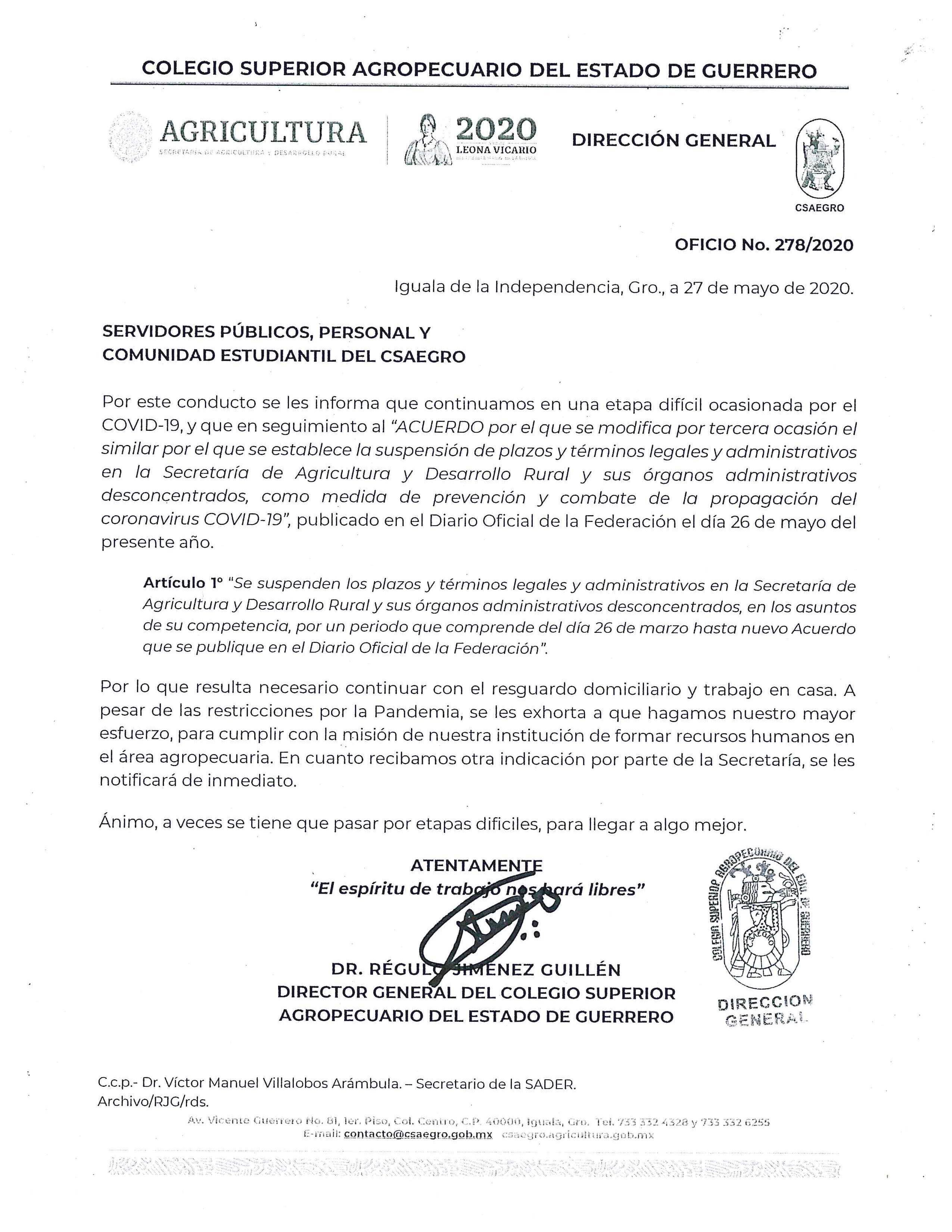 Oficio No.278/2020 Servidores Públicos, Personal y Comunidad Estudiantil del CSAEGRO