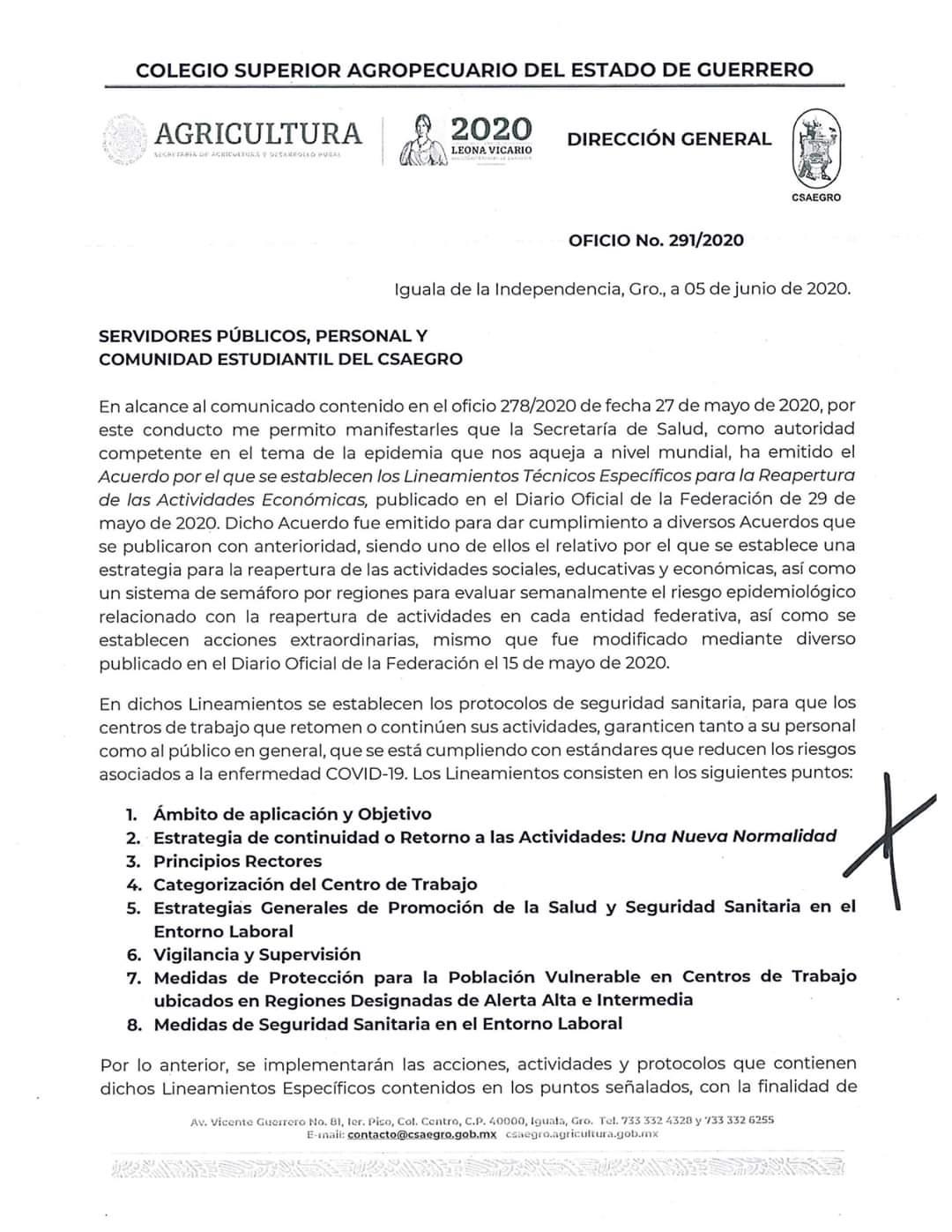 Oficio No.291/2020 Comunicado a Servidores Públicos, Personal y Comunidad Estudiantil del CSAEGRO(1)