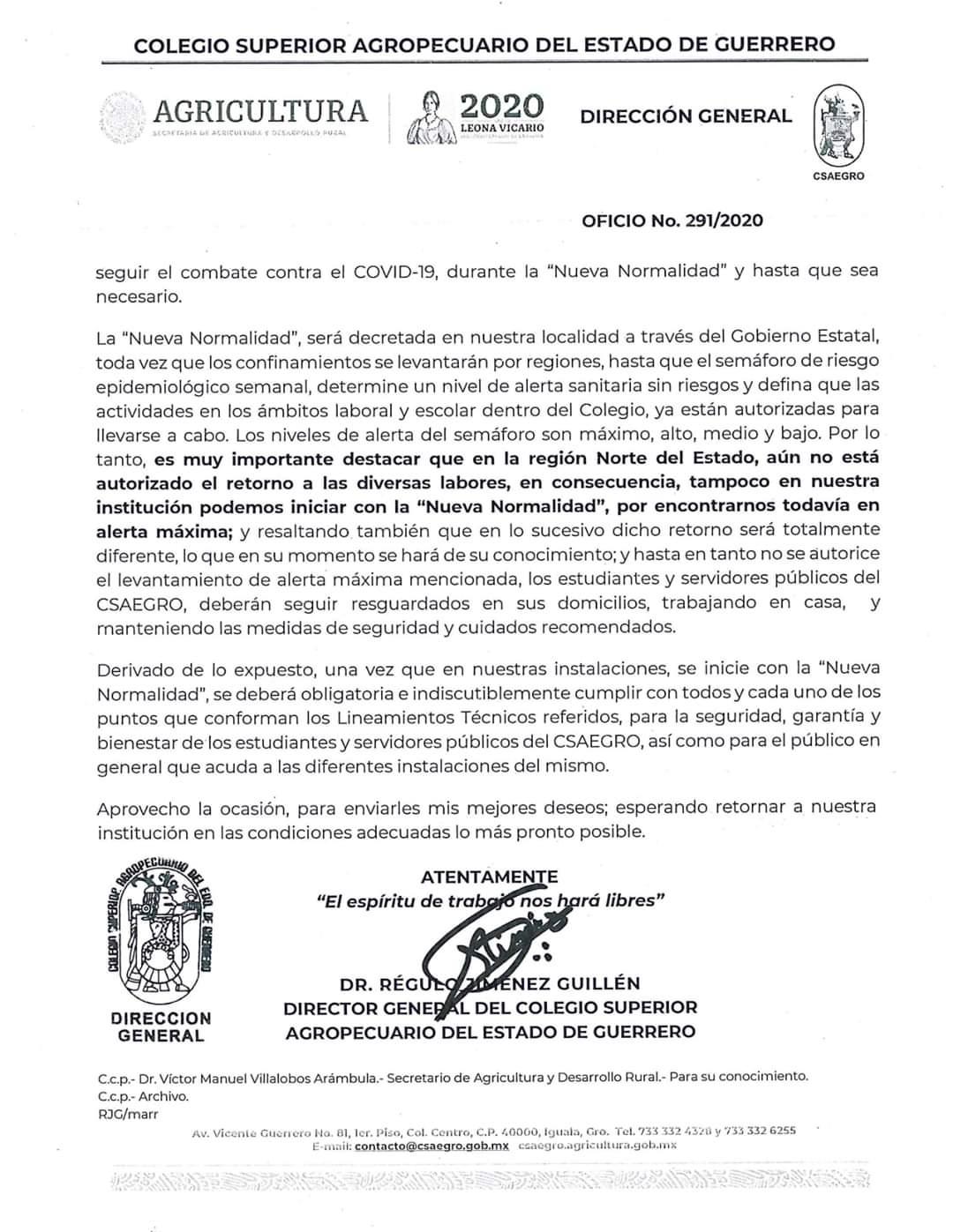 Oficio No.291/2020 Comunicado a Servidores Públicos, Personal y Comunidad Estudiantil del CSAEGRO(2)
