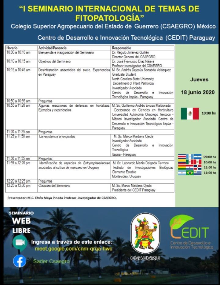 1er Seminario Internacional de Temas de Fitopatología