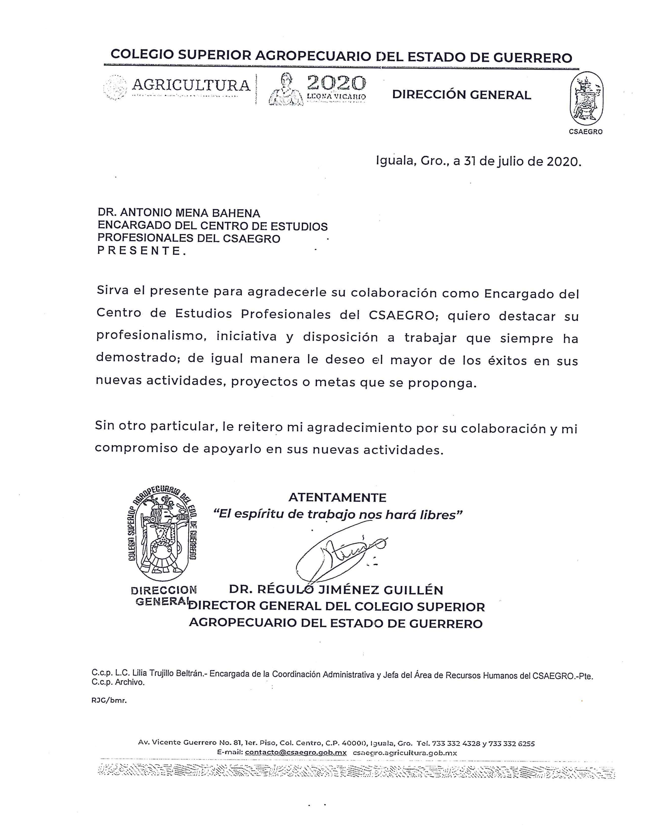 Oficio DG 31 07/2020