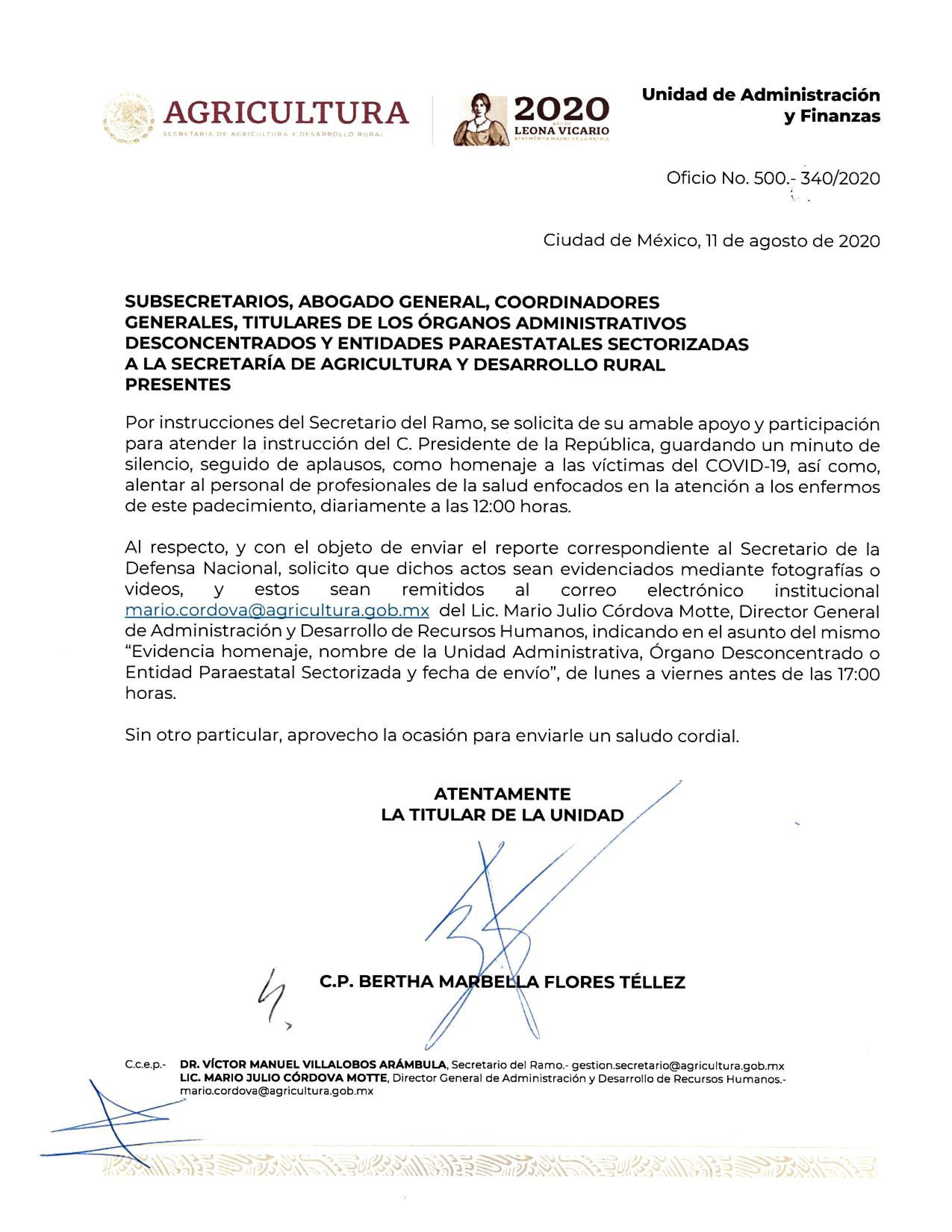 OFICIO No. 500.-  340/2020 HOMENAJE -VICTIMAS COVID19