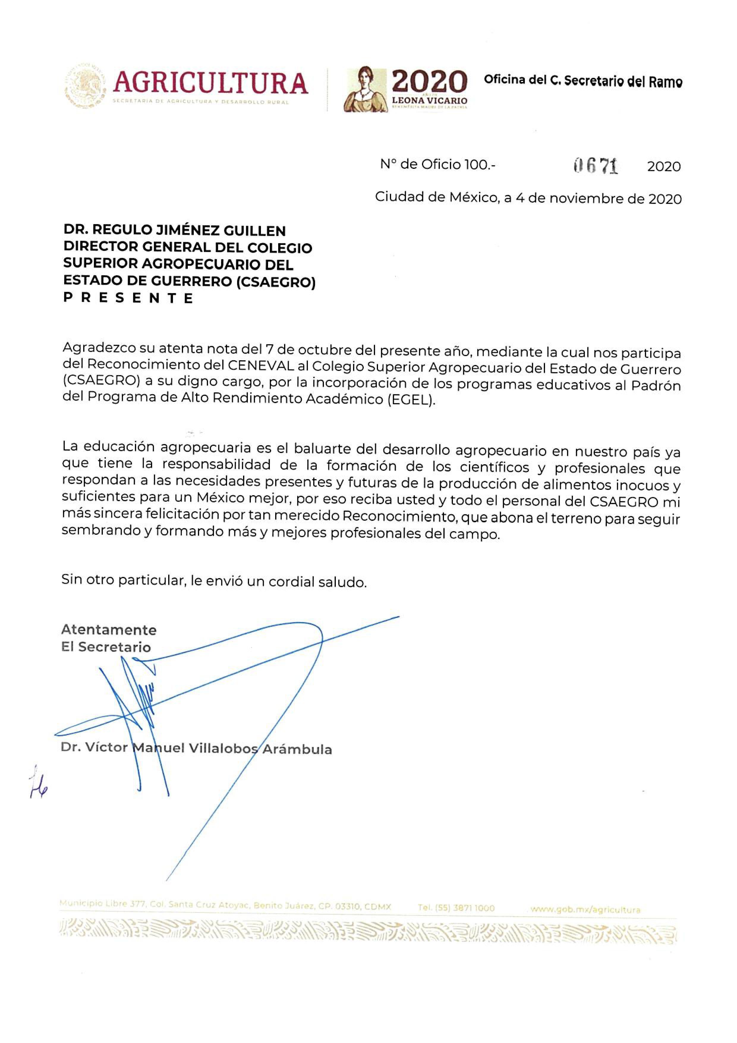 oficio 100.-0671 FELICITACIÓN RECONOCIMIENTO CSAEGRO