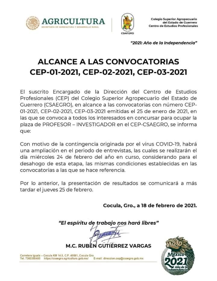 Alcance a las Convocatorias del CEP-01-2021, CEP-02-202, CEP-03-2021