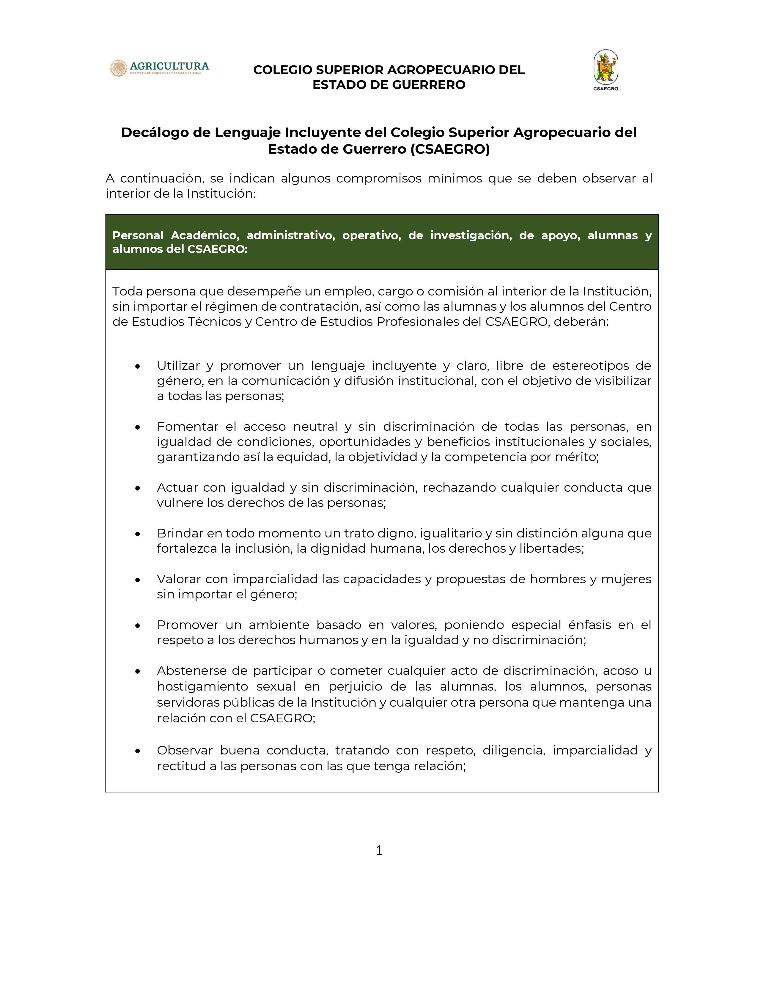 Decálogo de lenguaje Incluyente CSAEGRO-01