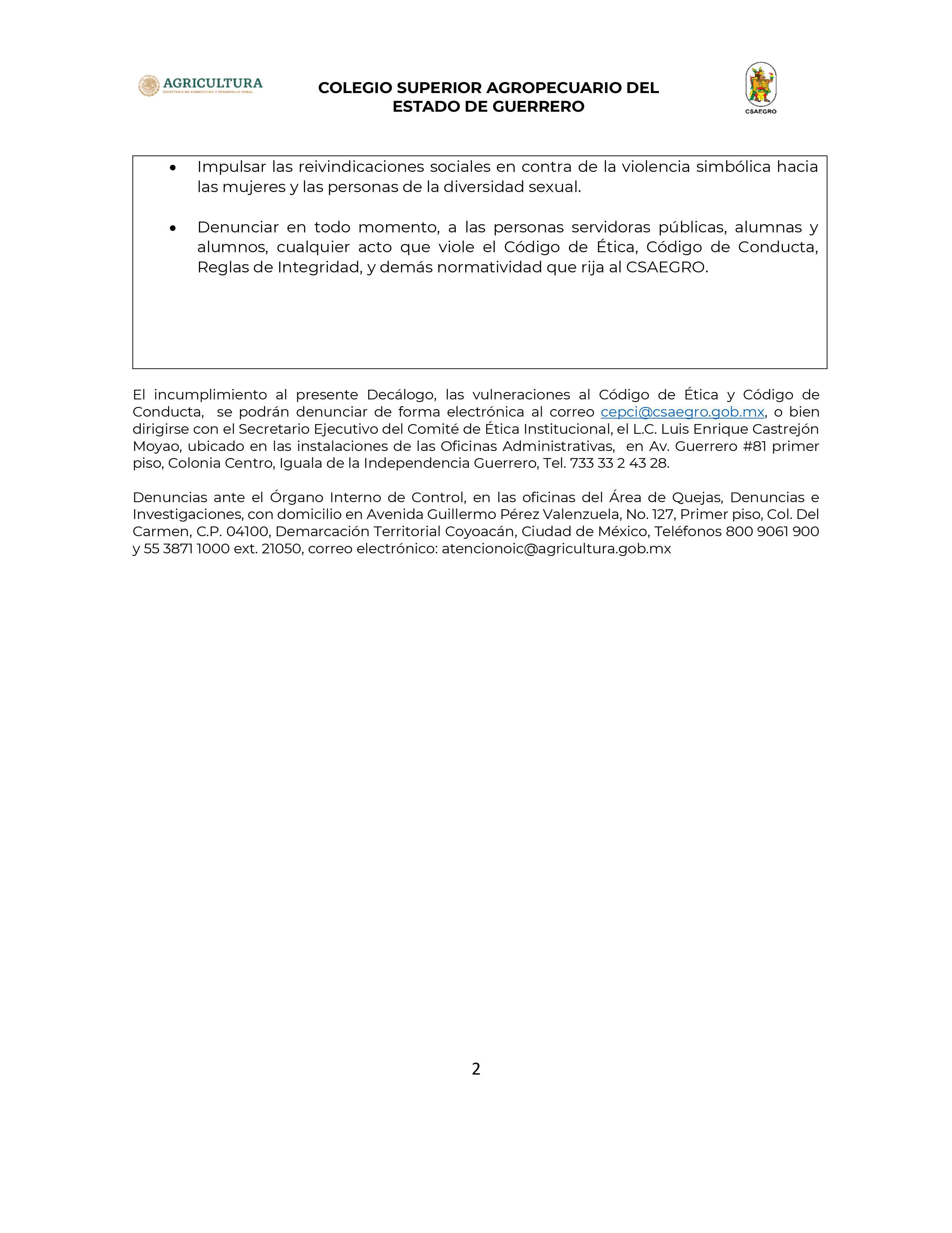 Decálogo de lenguaje Incluyente CSAEGRO-02